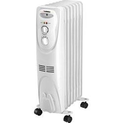 Lorell Oil Filled Heater, 3 Settings, 1500Watt, 14-1/16 in x 9-2/3 in x 26 in, White
