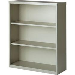 Lorell 3-Shelf Bookcase, Light Gray
