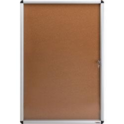 Lorell Enclosed Bulletin Board, Cork,24 inx36 in,Natural/ AM Frame