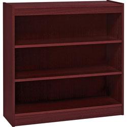 "Lorell 2 Shelf Veneer Panel Bookcase, 36""Wx12""Dx36""H, Mahogany"