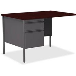 Lorell Single Pedestal Rtn Desk, LH, 42 in x 24 in x 29-1/2 in, Mahogany