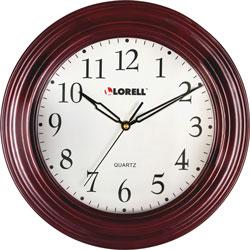 "Lorell Wall Clock, 13-1/4"", Arabic Numerals, Mahogany Frame"