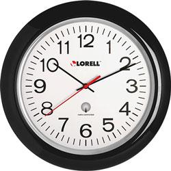 """Lorell Wall Clock, 13-1/4"""" Arabic Numerals, White Dial/Black Frame"""