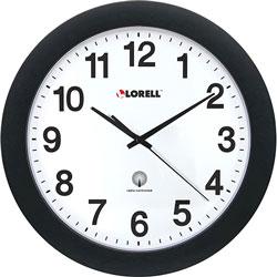 """Lorell Wall Clock, 12"""", Arabic Numerals, White Dial/Black Frame"""