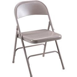 "Lorell Folding Chairs, Steel Seat, 19-3/8"" x 18-1/4"" x 29-5/8"", Beige"