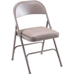 "Lorell Folding Chairs, Padded Seat, 19-3/8"" x 18-1/4"" x 29-5/8"", Beige"