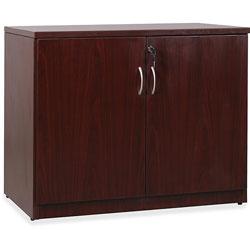 Lorell 2-Door Storage Cabinet, 22-1/2 in x 36 in x 30 in, Mahogany