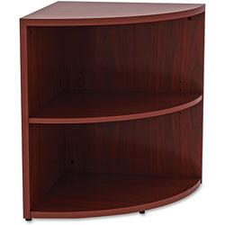 Lorell Laminate Corner Bookcase, 23-3/5 in x 23-3/5 in x 29-1/2 in, Mahogany