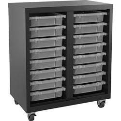 Lorell Storage Unit, w/ Bins, 30 inWx18 inLx36 inH, Black/Clear
