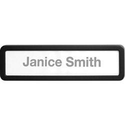 Lorell Plastic Cubicle Nameplate, Plastic, Black