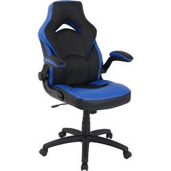 Lorell Chair, Gaming, High-Back, 20-1/2 inWx28 inLx47-1/2 inH, Blue/Black