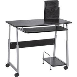 Lorell Mobile Computer Desk, Black/Silver