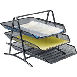 Lorell Desk Tray, 3 Tier,10-3/4 inx14-1/4 inx11 in, BK Mesh