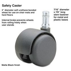 Master Caster Safety Casters,Standard Neck, Polyurethane, B Stem, 110 lbs/Caster, 5/Set
