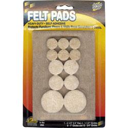 Master Caster Self Stick Felt Pads, Assorted Dia. Circles & 4 1/2 x 6 Pad