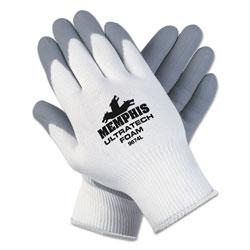 Memphis Glove Ultra Tech Foam Seamless Nylon Knit Gloves, Large, White/Gray, 12 Pair/Dozen