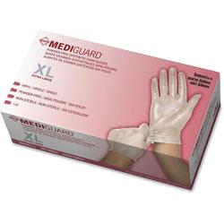 Medline Vinyl Exam Gloves, Powder Free, X-Large, 10/BX, Clear