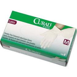 Curad Latex Exam Gloves, Powder-Free, Medium, 100/Box