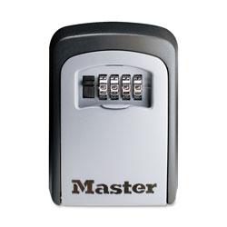 Master Lock Company Locking Combination 5 Key Steel Box, 3 1/4w x 1 1/2d x 4 5/8h, Black/Silver