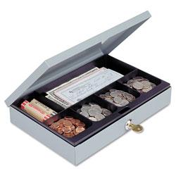 MMF Industries Heavy-Duty Steel Low-Profile Cash Box w/6 Compartments, Key Lock, Gray