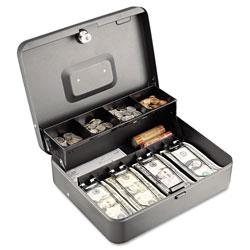 MMF Industries Tiered Cash Box w/Bill Weights, Cam Key Lock, Charcoal