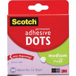 Scotch™ Adhesive Dots, Medium Craft, .3 in D, 300/BX, Clear