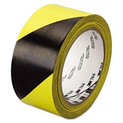 3M 766 Hazard Warning Tape, Black/Yellow, 2 in x 36yds