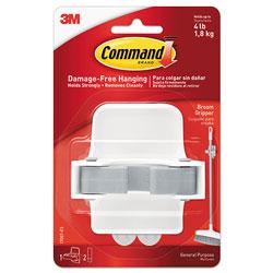 Command® Broom Gripper, 3.12w x 2.43d x 3.34h, White/Gray, 1 Gripper/2 Strips