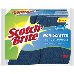 Scotch Brite® Non-Scratch Scrub Sponges, 4-1/4 in x 2-3/4 in x 3/4 in, 6/PK, Blue