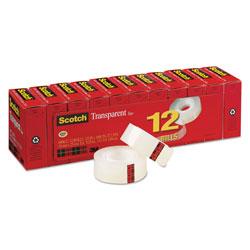 Scotch™ Transparent Tape, 1 in Core, 0.75 in x 83.33 ft, Transparent, 12/Pack