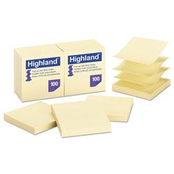 Highland Self-Stick Pop-Up Notes, 3 x 3, Yellow, 100-Sheet, 12/PK
