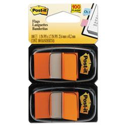 Post-it® Standard Page Flags in Dispenser, Orange, 100 Flags/Dispenser
