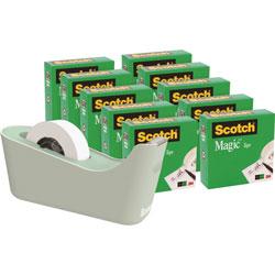 3M Magic Tape Dispenser Value Pack, 10 Rolls/PK, Mint/Clear