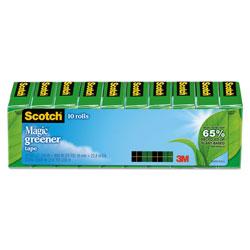 Scotch™ Magic Greener Tape, 1 in Core, 0.75 in x 75 ft, Clear, 10/Pack