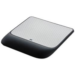 3M Mouse Pad w/Precise Mousing Surface w/Gel Wrist Rest, 8 1/2x 9x 3/4, Solid Color