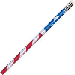Rose Moon / Mmod Decorated Pencils, Star/Stripes Glitz, 12/DZ, RWB