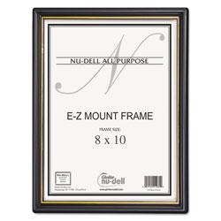 Nudell Plastics EZ Mount Document Frame/Accent, Plastic Face, 8 x 10, Black/Gold