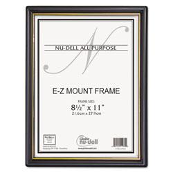 Nudell Plastics EZ Mount Document Frame w/Trim Accent, Plastic Face, 8.5 x 11, Black/Gold, 18/CT