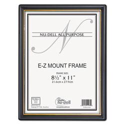 Nudell Plastics EZ Mount Document Frame with Trim Accent, Plastic Face , 8.5 x 11, Black/Gold