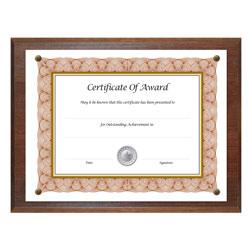 Nudell Plastics Award-A-Plaque Document Holder, Acrylic/Plastic, 10-1/2 x 13, Walnut