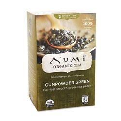 Numi Organic Teas and Teasans, 1.27 oz, Gunpowder Green, 18/Box