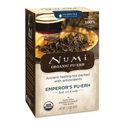 Numi Organic Teas and Teasans, 0.125 oz, Emperor's Puerh, 16/Box