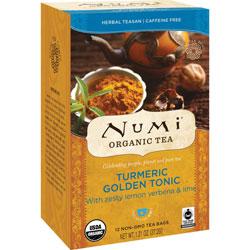 Numi Organic Tea, Turmeric Golden Tonic, 1.31 oz., 12/BX, Multi
