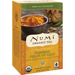 Numi Organic Tea, Turmeric Fields Of Gold, 1.31 oz., 12/BX, Multi