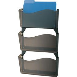 Officemate Wall Files, w/ Hangers, Unbreakable, 3/BX, Smoke
