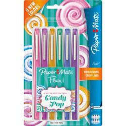 Sanford Felt Tip Pen, Med Pt, 6/PK, Candy Pop, Assorted