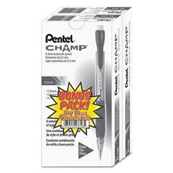 Pentel Champ Mechanical Pencil, 0.5 mm, HB (#2.5), Black Lead, Translucent Black Barrel, 24/Pack