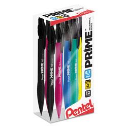 Pentel PRIME Mechanical Pencil, 0.7 mm, HB (#2.5), Black Lead, Assorted Barrel Colors, Dozen