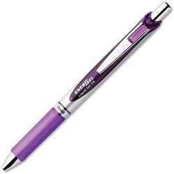 Pentel Gel Pen, Retractable, Metal Tip, .7mm, 12/BX, Violet Barrel/Ink
