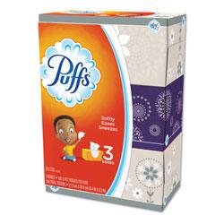 Puffs Facial Tissue, White, 3 Box Pack, 180 Sheets Per Box, 8/Case, 4320 Sheets Total